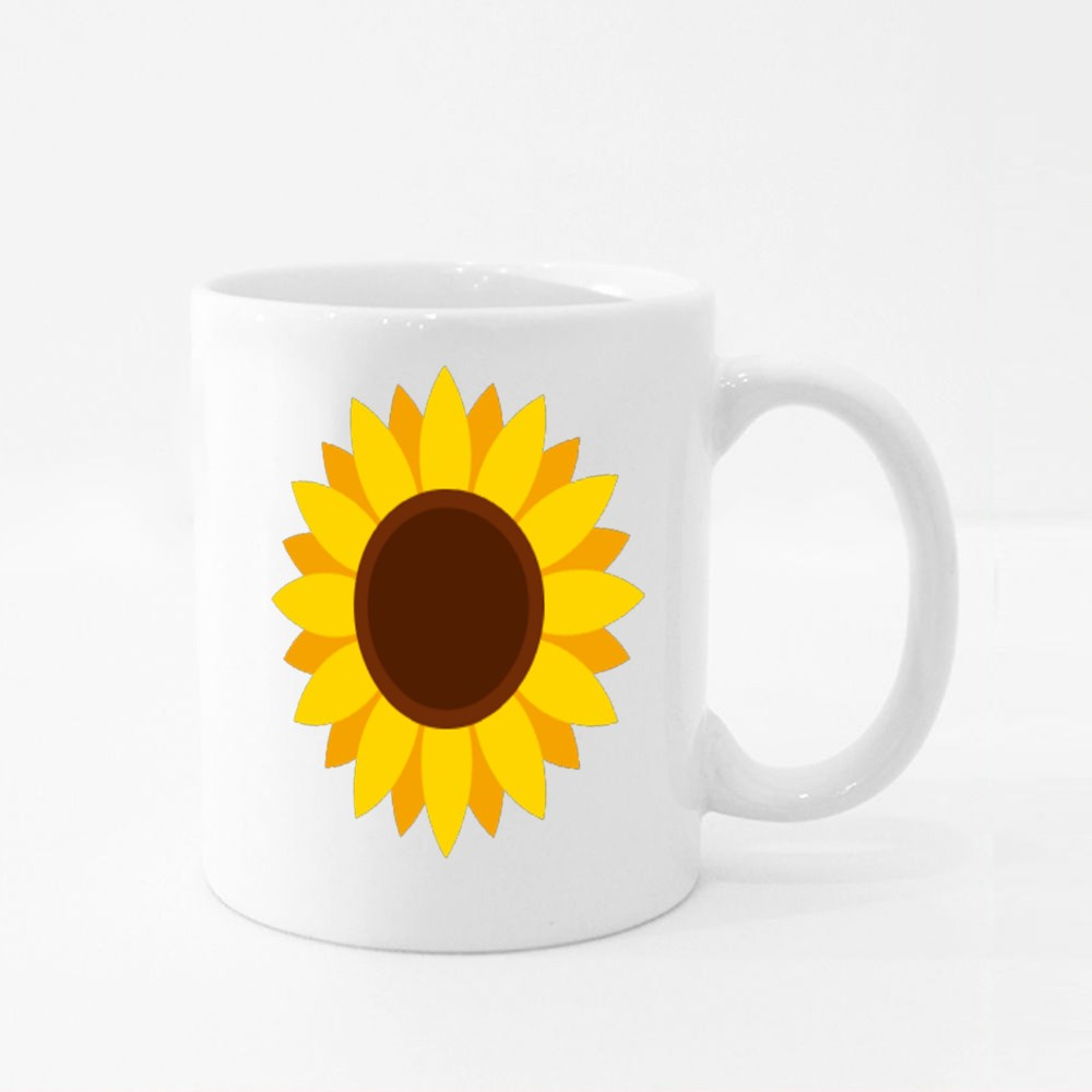 Sunflower Icon in Flat Style Colour Mugs
