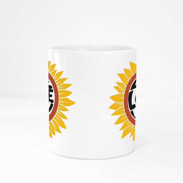 Drawing of Sunflower in Retro Style Colour Mugs