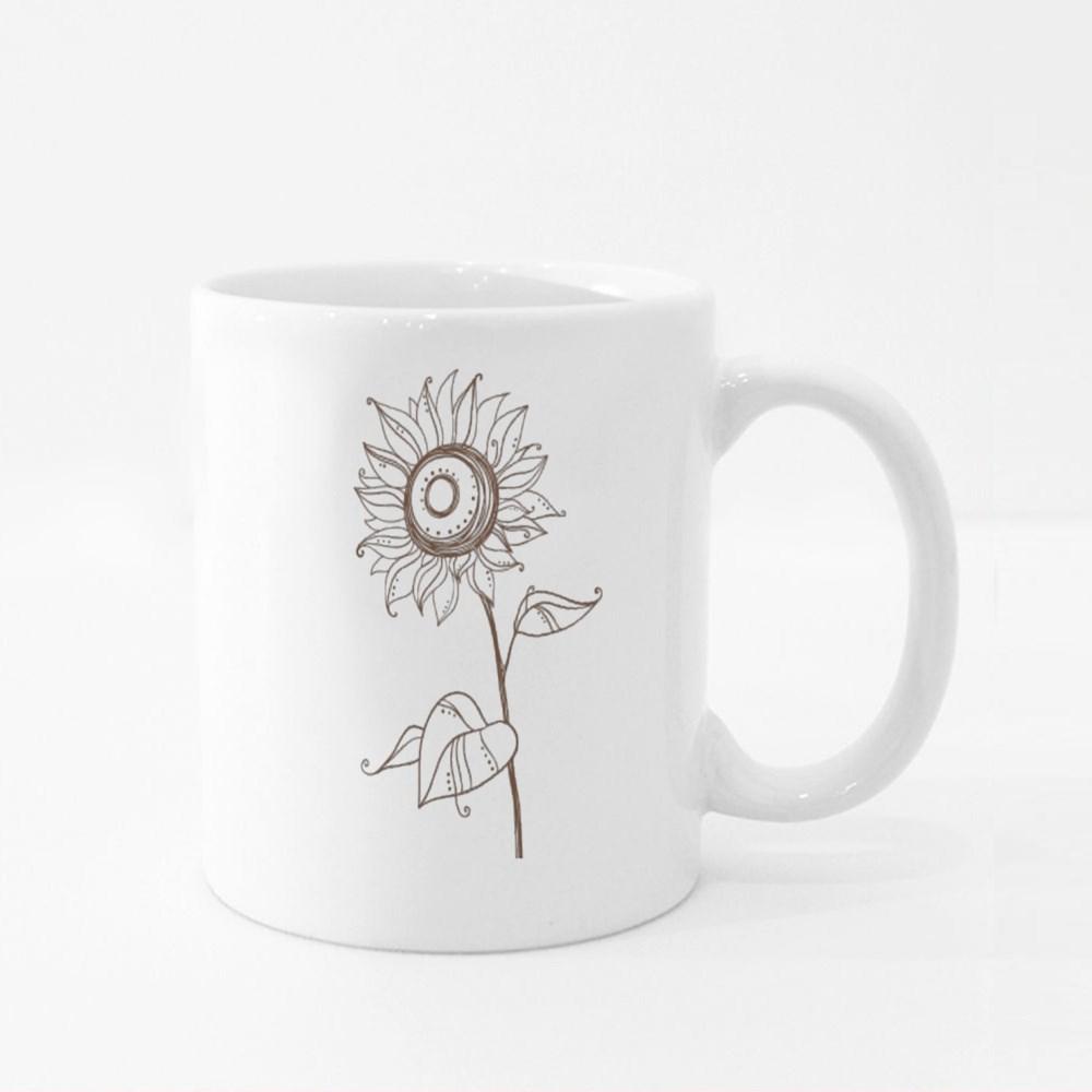 Stylized Sunflower Colour Mugs