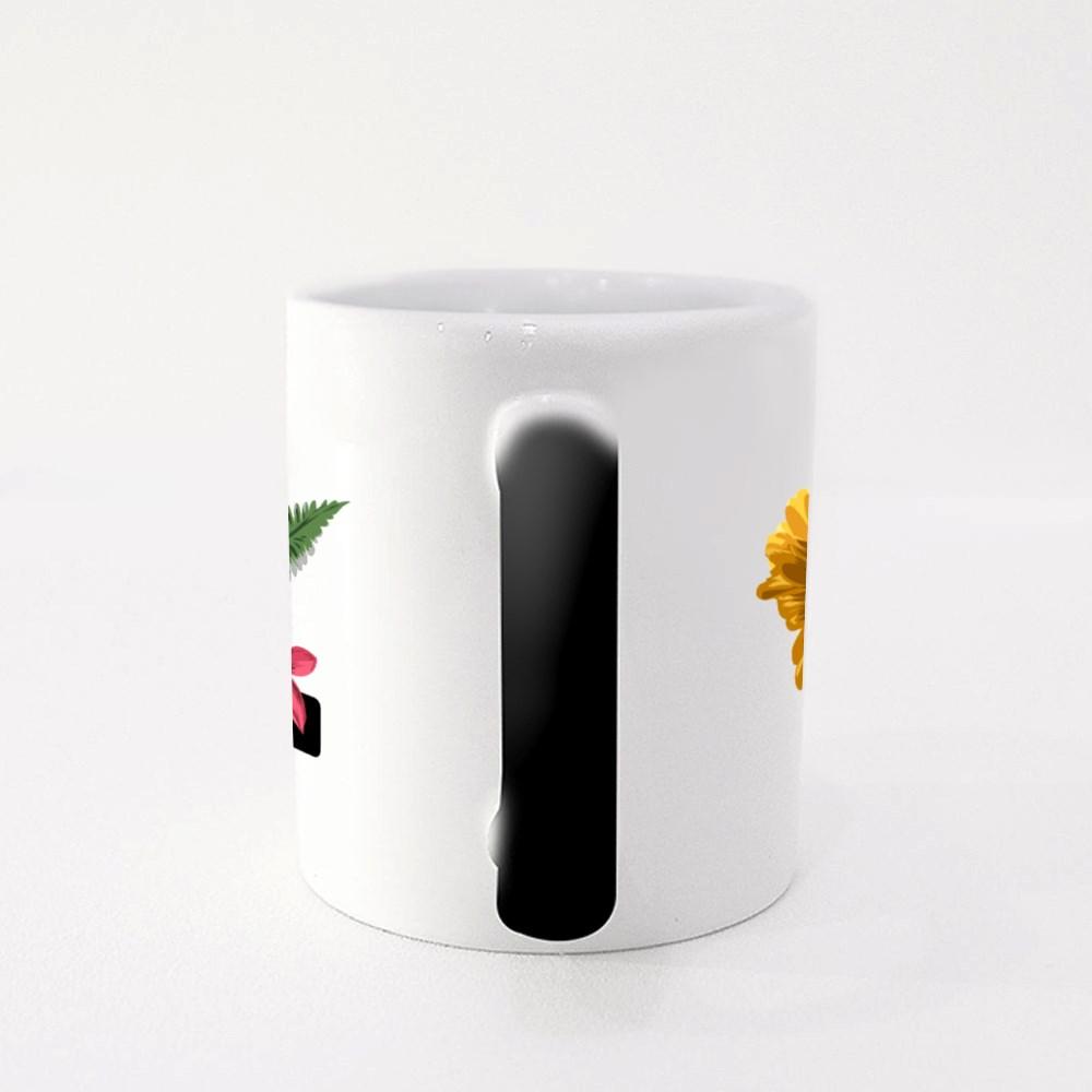 Cool Slogan With Sunflowers and Palms Leaf Illustration Magic Mugs