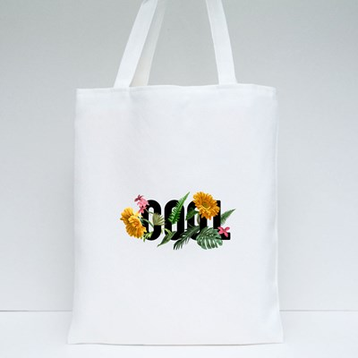 Cool Slogan With Sunflowers and Palms Leaf Illustration Tote Bags