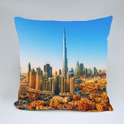 Beautiful View on Dubai Downtown Skyline,Dubai,United Arab Emirates Throw Pillows