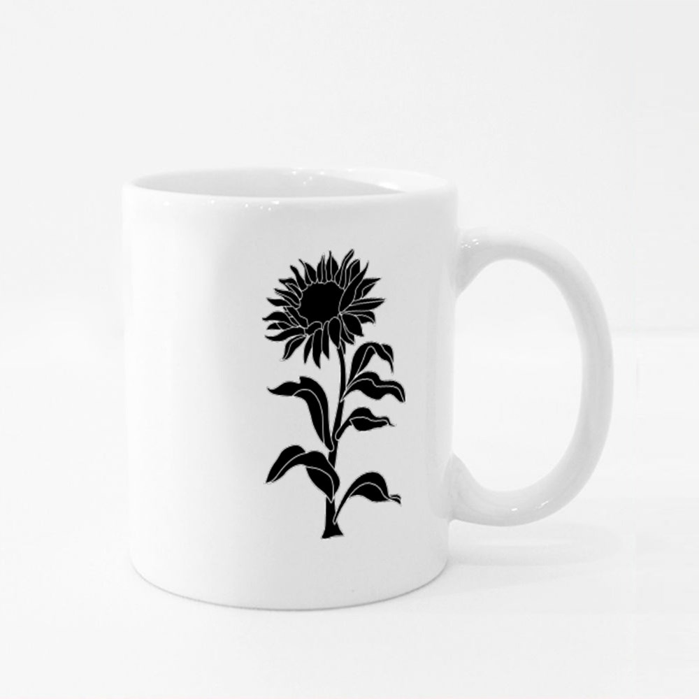 Sunflower and  Plant. Colour Mugs