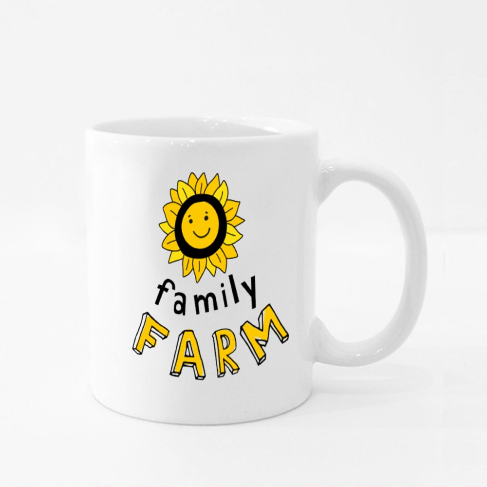Smiling Sunflower With the Inscription Family Farm. Colour Mugs