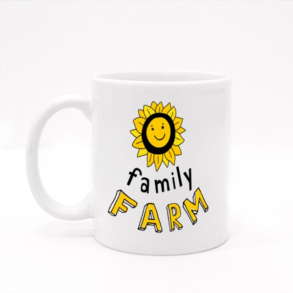 Smiling Sunflower With the Inscription Family Farm. Colour Mugs