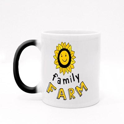 Smiling Sunflower With the Inscription Family Farm. Magic Mugs