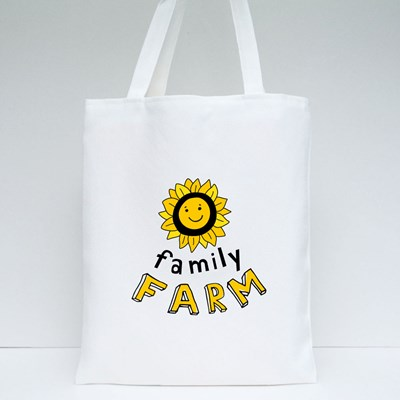 Smiling Sunflower With the Inscription Family Farm. Tote Bags