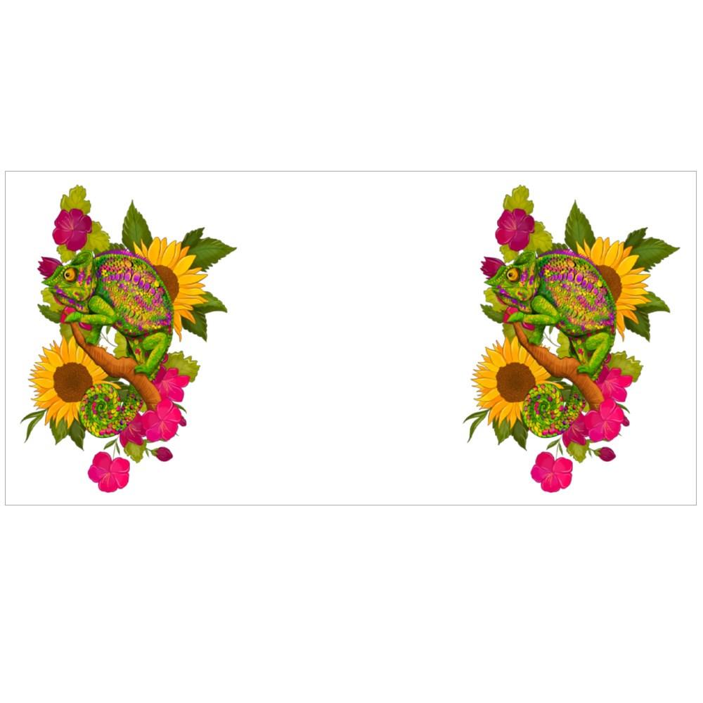 Hameleon Green on a Background of Sunflowers Colour Mugs