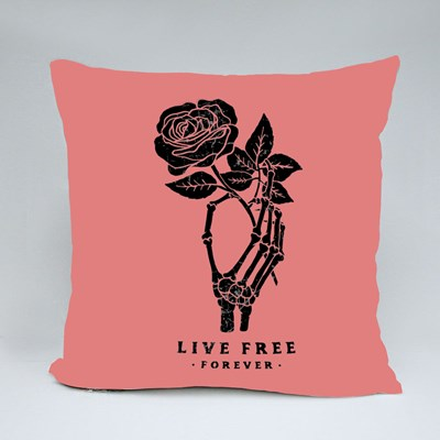 Skeleton Hand Holding a Red Rose Throw Pillows