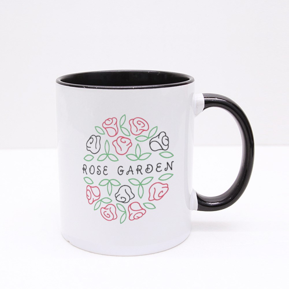 Round Shape Line Style Logo With Rose Flowers and Leaves for Boutique Colour Mugs