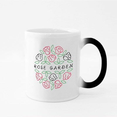 Round Shape Line Style Logo With Rose Flowers and Leaves for Boutique Magic Mugs