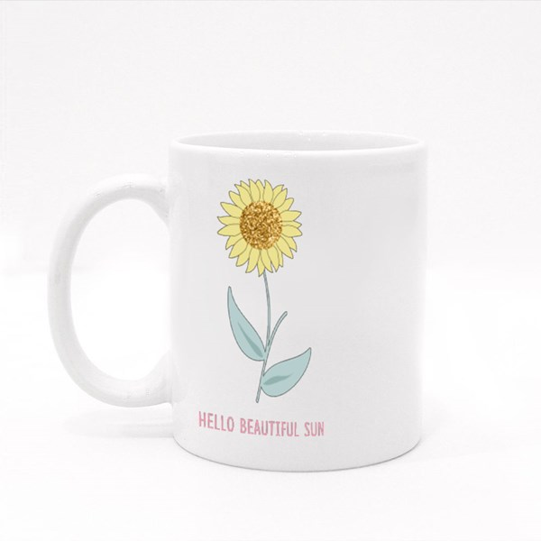 Glitter Sunflower Leaf White Text Line Colour Mugs