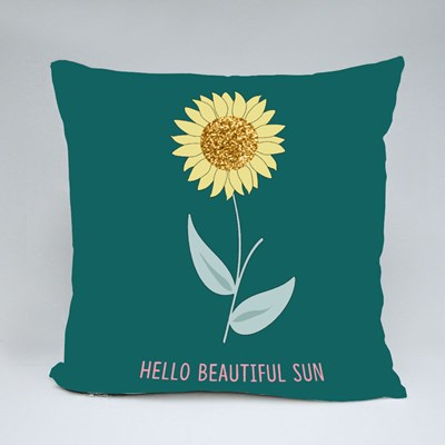 Glitter Sunflower Leaf White Text Line Throw Pillows