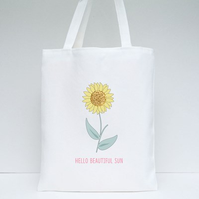 Glitter Sunflower Leaf White Text Line Tote Bags