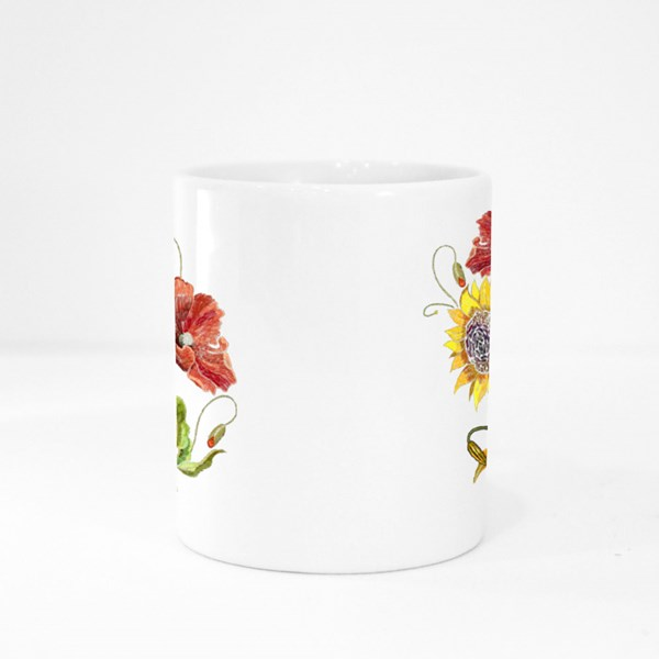 Sunflowers and Red Poppies Flowers Seamless Pattern Colour Mugs