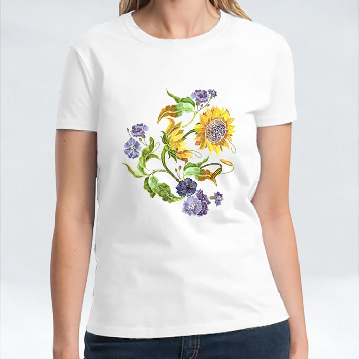 Blue Flowers and Yellow Sunflowers T-Shirts