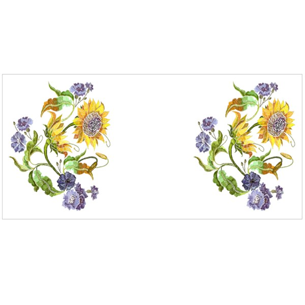 Blue Flowers and Yellow Sunflowers Colour Mugs