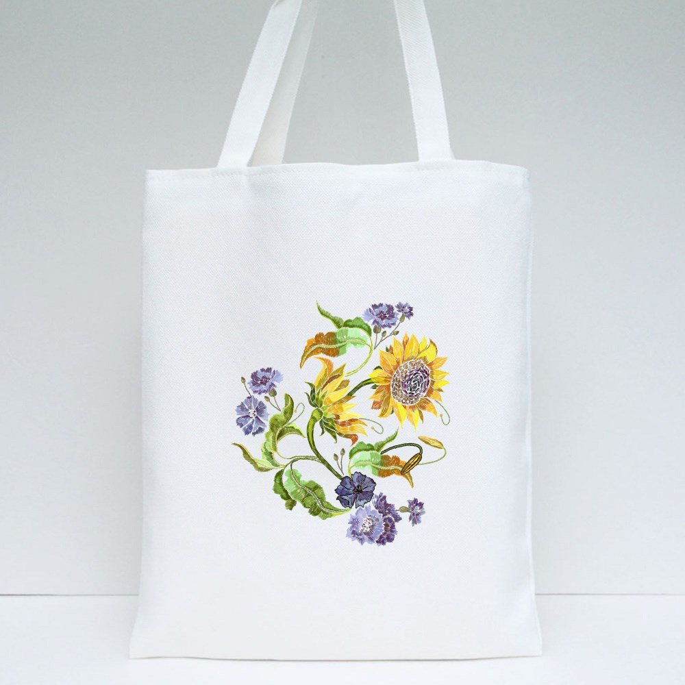 Blue Flowers and Yellow Sunflowers Tote Bags