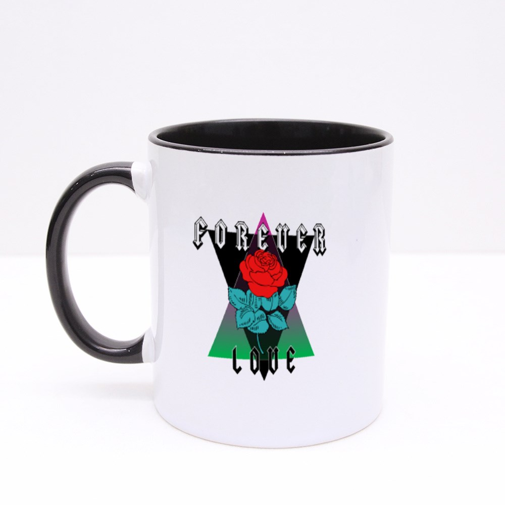 Rose Print With Forever Love  Rock and Roll Colour Mugs