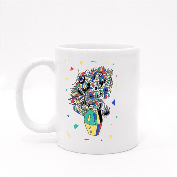 Sunflowers by Vincent Van Gogh. Mosaic Rgb Style. Colour Mugs