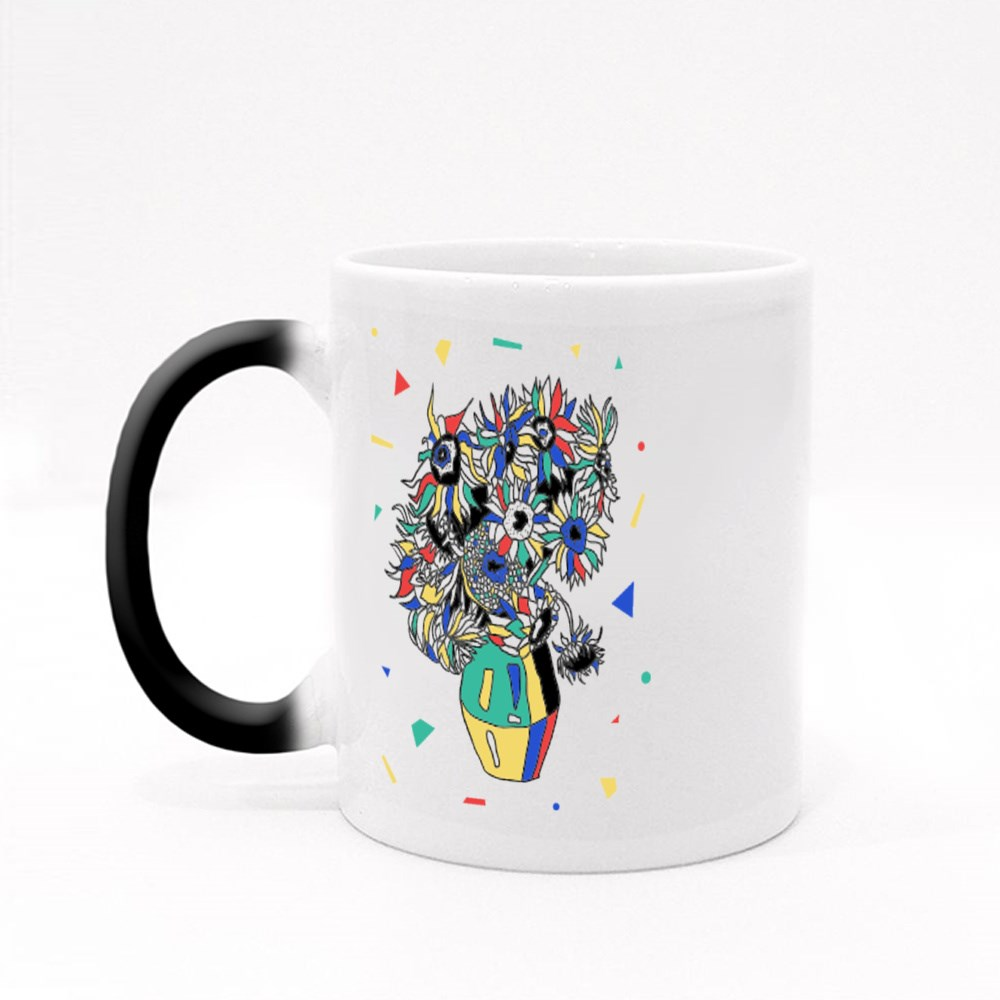 Sunflowers by Vincent Van Gogh. Mosaic Rgb Style. Magic Mugs
