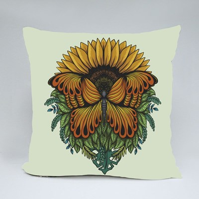 Sunflower Butterfly Vector Illustration for Your Company or Brand Throw Pillows