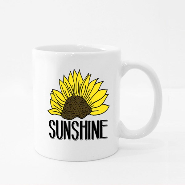 Illustration of a Sunflower Vector, Slogan Print Colour Mugs