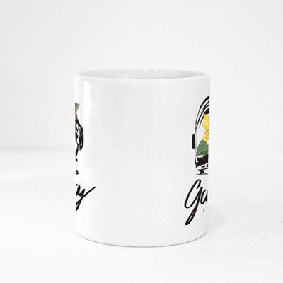Galaxy Slogan With Sunflower in Astronaut Helmet on Black Background Magic Mugs