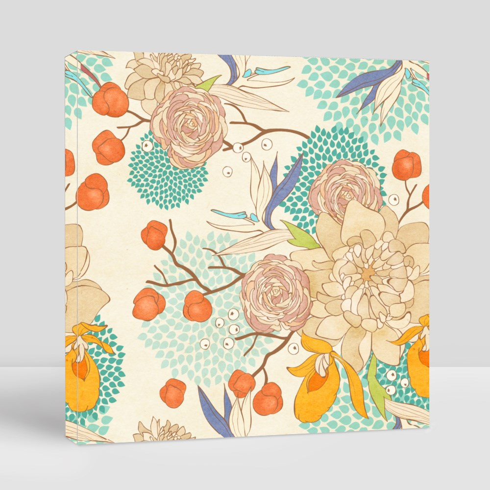 Seamless Floral Pattern on Paper Textured Background Canvas (Square)