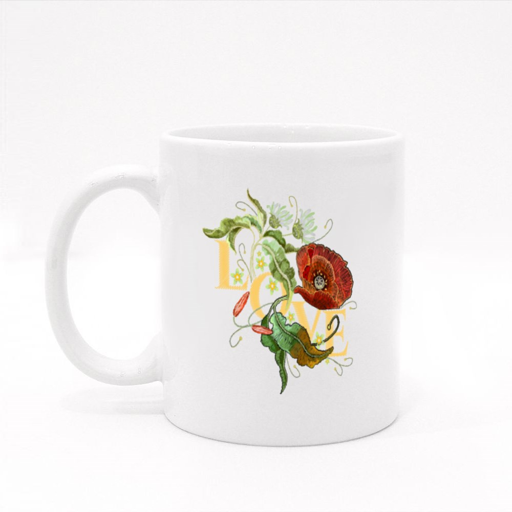 Red Rose Flowers With Love Colour Mugs