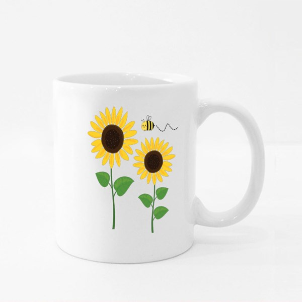 Sunflower and Cartoon Bee I Colour Mugs