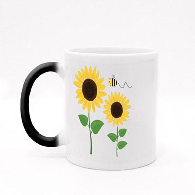 Sunflower and Cartoon Bee I Magic Mugs