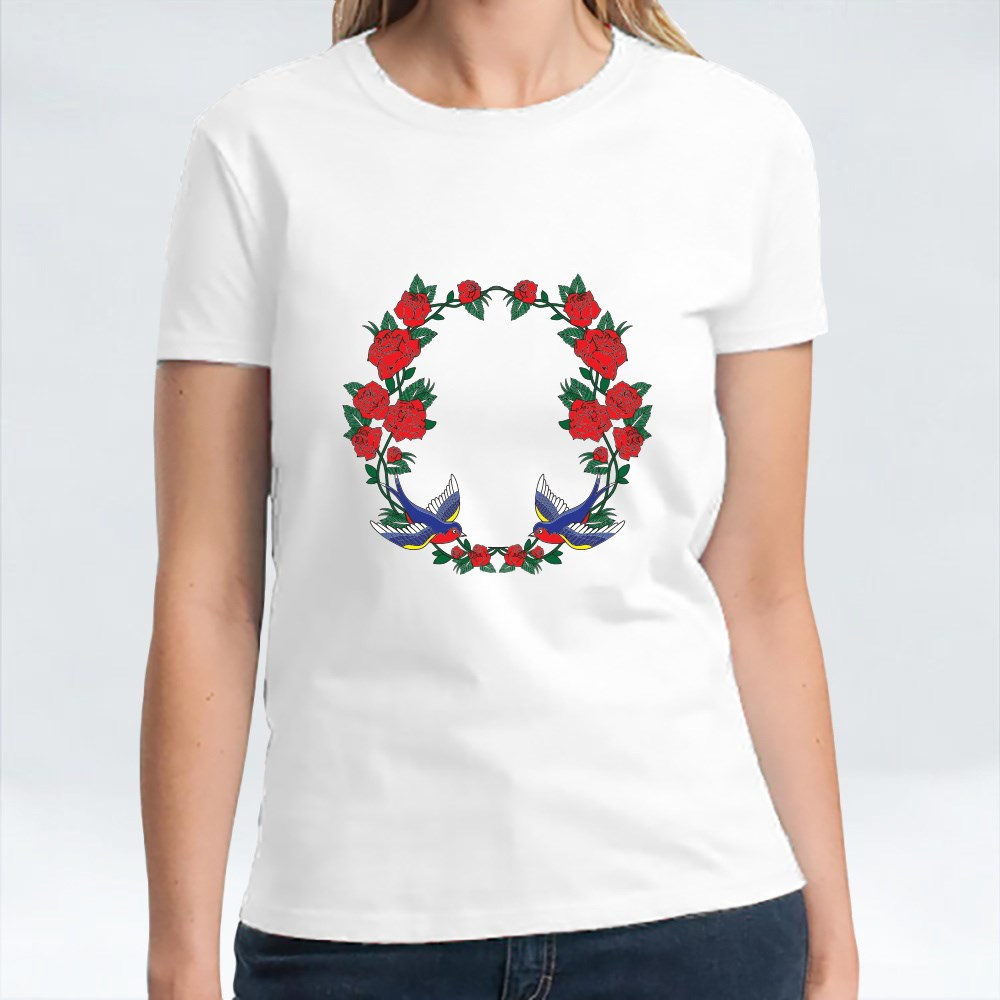 Vector Old School Frame With Roses and Birds T-Shirts
