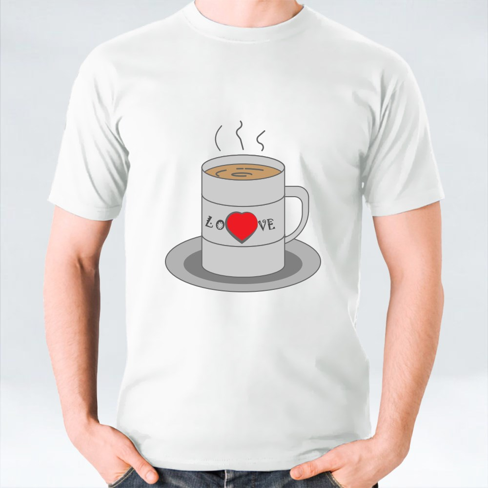 Hot Coffee in a Mug With Love Lettering T-Shirts