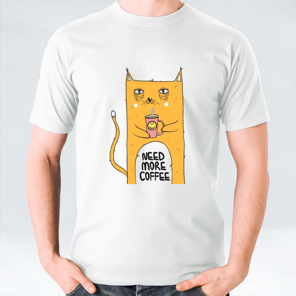Funny Cat With  Coffee Mug. Need More Coffee Text T-Shirts