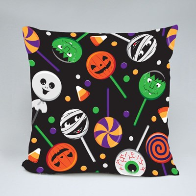 Sweets Candies and Colorful Lollipops Halloween Throw Pillows