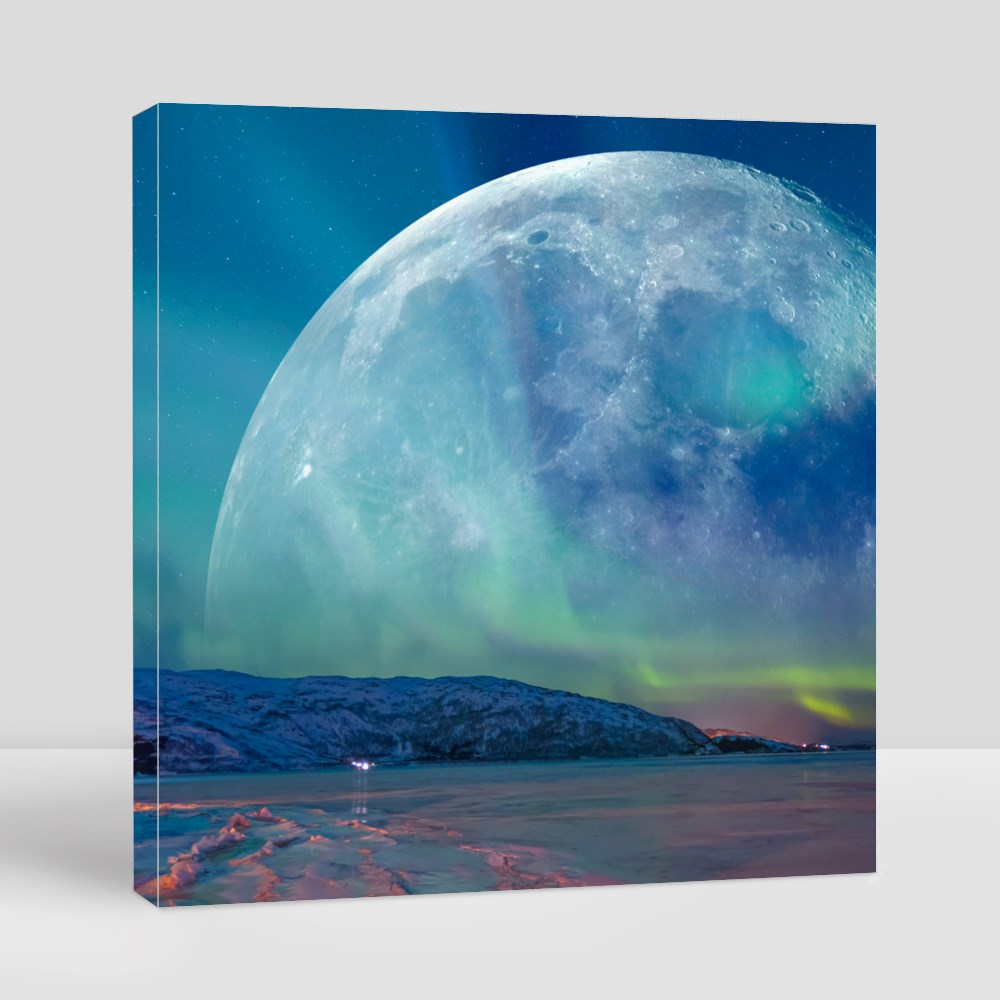 Northern Lights (Aurora Borealis) in the Sky Over Tromso With Full Moo Canvas (Square)