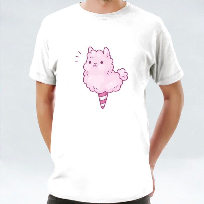 Cute Cartoon Cotton Candy Llama T-Shirts