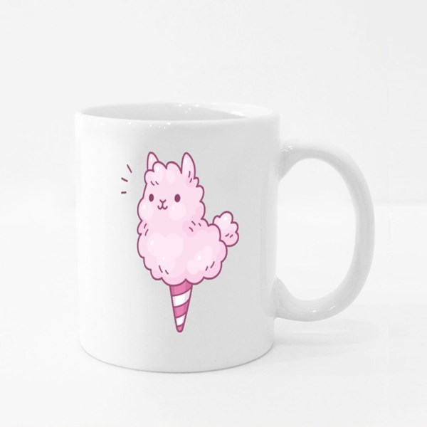 Cute Cartoon Cotton Candy Llama Colour Mugs