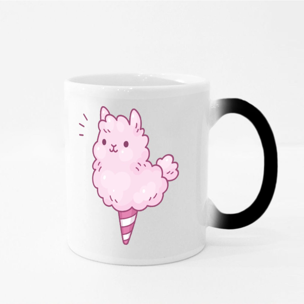 Cute Cartoon Cotton Candy Llama Magic Mugs