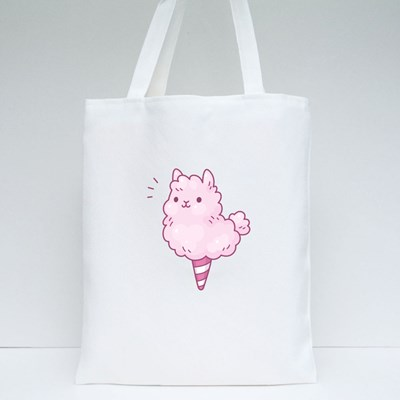Cute Cartoon Cotton Candy Llama Tote Bags