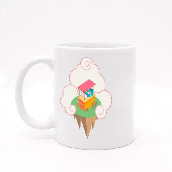 Colorful Isometric Cotton Candy Machine on the Flying Island  Colour Mugs