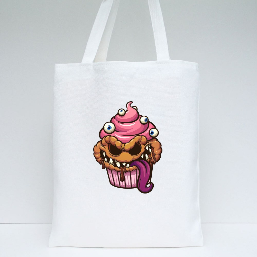 Cupcake Monster With Evil Smile Cartoon Clip Art Tote Bags