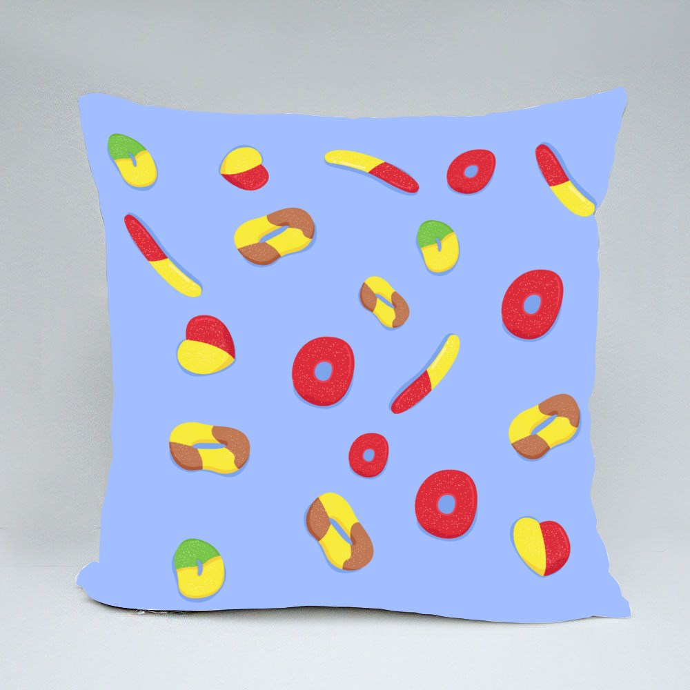 Gummy Candy Vector Illustration for Kids Throw Pillows