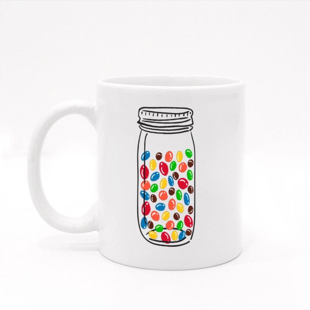 Hand Drawn Glass Jar With Color Candies.  Colour Mugs