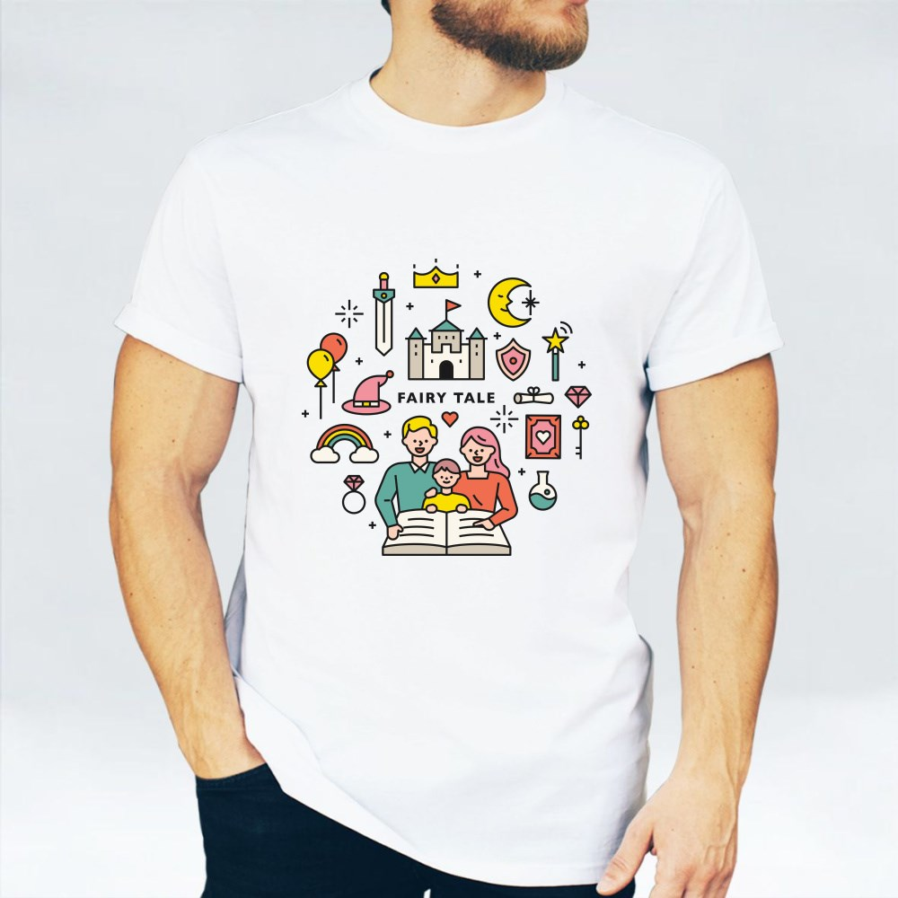Dad and Mom Are Reading Fairy Tales to Their Children T-Shirts