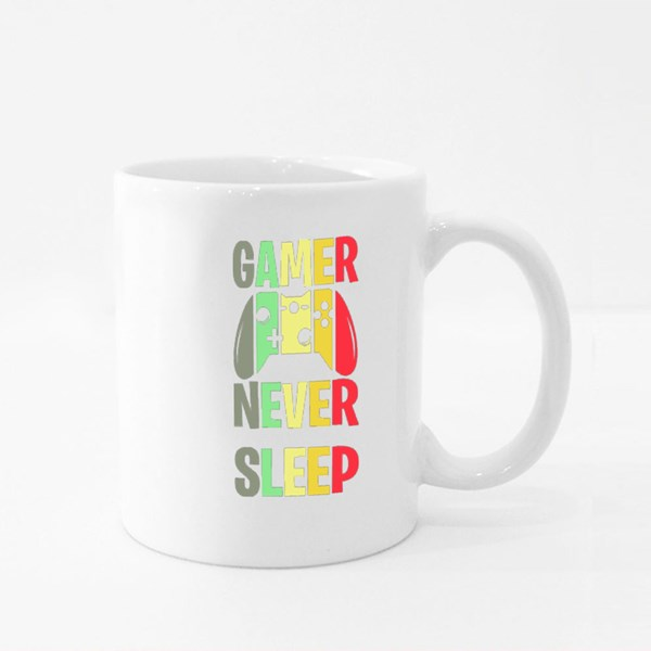 Gamer Never Sleep Shirt Design With Gamepad. Perfect Gift for Gamers. Colour Mugs