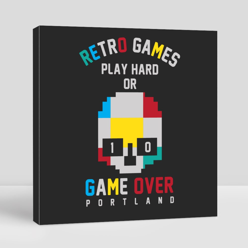Retro Games Play Hard Or Game Over Canvas (Square)