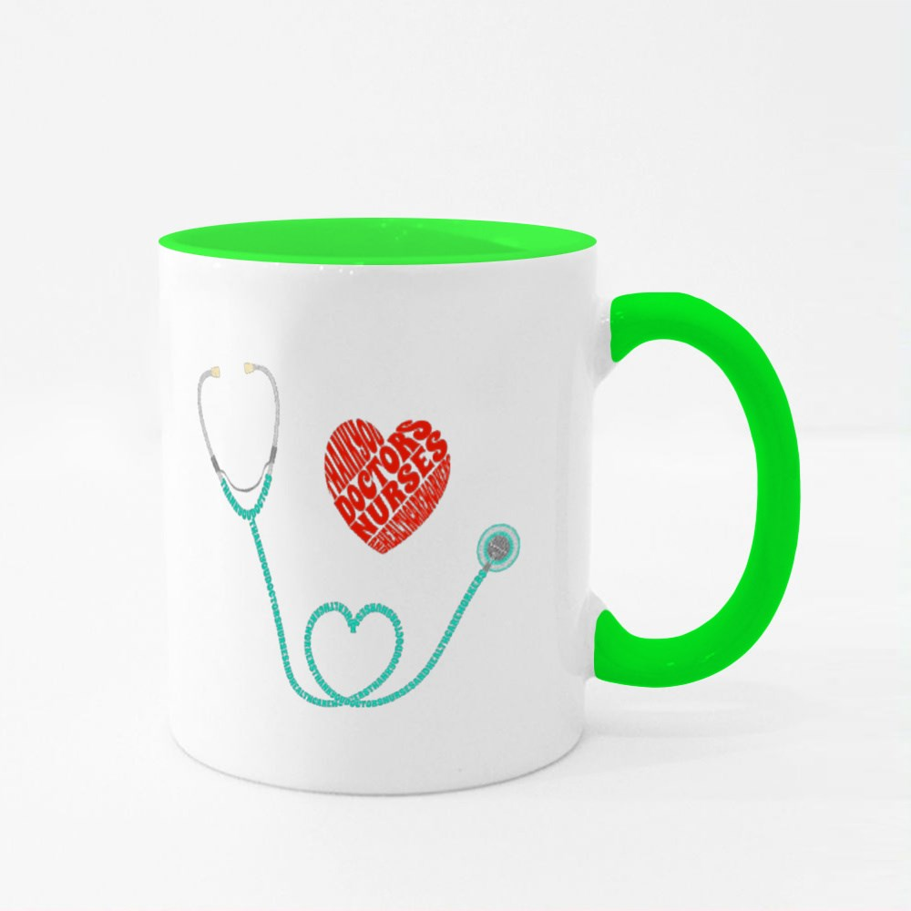 Thank You Healthcare Workers, Text in Stethoscope Colour Mugs