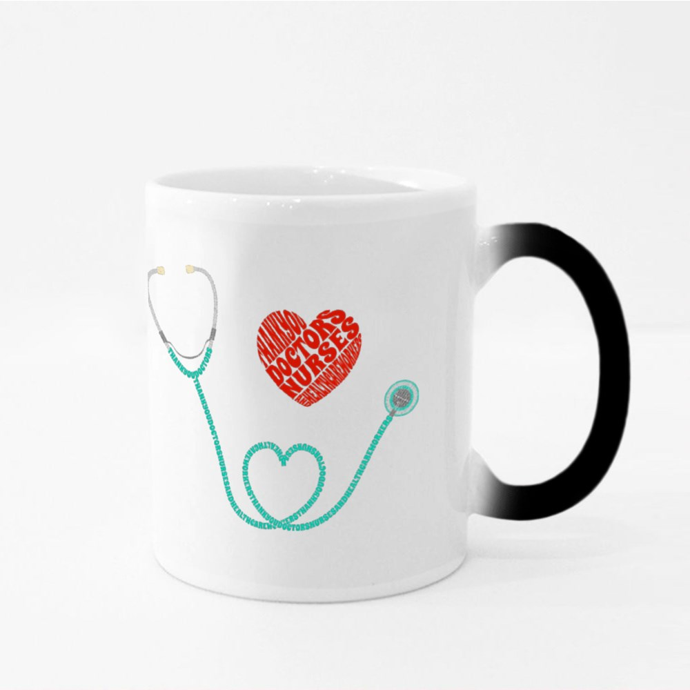 Thank You Healthcare Workers, Text in Stethoscope Magic Mugs